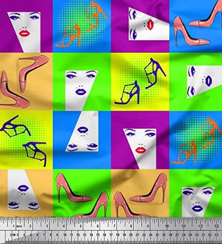 Soimoi Lila modaler Satin Stoff Frauen Gesicht & High Heels Mode Dekor Stoff gedruckt 1 Meter 42 Zoll breit Moda Satin-heels