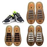 Coolnice Lacci Elastici No Tie Lacci per Scarpe Adulti Bambini Pizzo Elastico Impermeabile Pratica in Silicio per Scarpe Sportive Sneaker Board-Nero+Bianco+Grigio