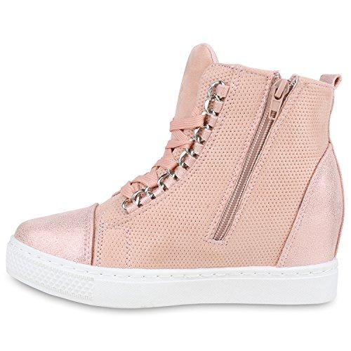 Damen High Top Sneaker Wedges Glitzer Metallic Ketten Sneakers Rosa