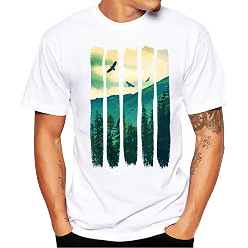 Camiseta Hombre,Longra  Camiseta de Cráneo Hombre Militares Camisetas Deporte Ropa Deportiva Camisa de Manga Corta de Camuflaje Slim fit Casual para Hombres Tops Blusa (Blanco4, S(Paisaje))