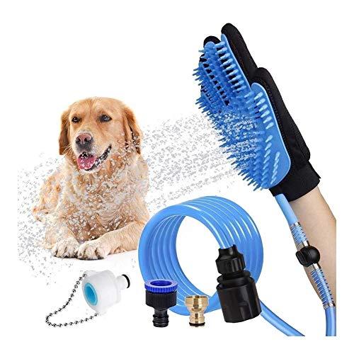 WSJF Haustier Duschkopf,Haustier Dusche Sprayer Verstellbarer Hundeduschenaufsatz HundebadezubehöR Waschhandschuh Duschset Anzug for Hund Katze