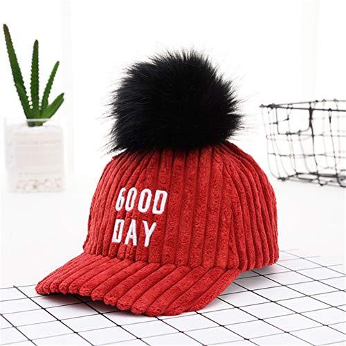 Et Hutch Kostüm Starsky - Cord warme Mütze Jungen und Mädchen Eltern-Kind-Modell Haar Ball Hip Hop Hut Herbst und Winter Plüsch Baseballmütze (6 Farben),Red,Adult