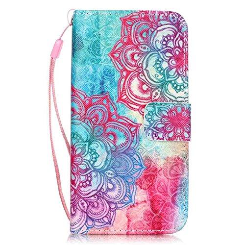 Coque Cuir iPhone 7 Vanki® floral design Housse PU similicuir à rabat Intérieure Protection Souple Coque Portefeuille TPU Silicone Case Cover Pour IPhone 7 14