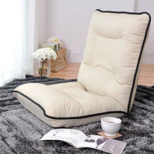 L-R-S-F Canapé paresseux unique occasionnel petit canapé chaise Creative lit pliant arrière chaise salon (Couleur : Beige)