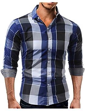 Honghu Casual Regular Fit Manga Larga Cuello Clásico de la Camisa Freizeit Escocesa Camisas para Hombre