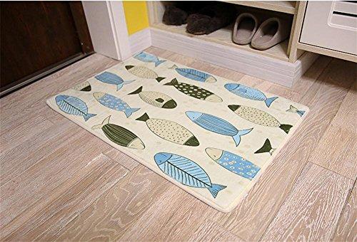 LYD® Home Maschine Weben Kann Gewaschen Werden Chemische Faser Karikatur Fisch Skala Matratze Küche Schlafzimmer Badezimmer Rutschfeste Absorbierende Fuß Pad B 50*80Cm