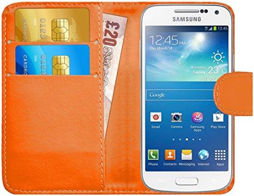 Samsung Galaxy S4 Mini Hülle Leder Klapphülle mit Kartenfach G-Shield Schutzhülle Tasche Flip Case Cover Etui Handyhülle für Samsung Galaxy S4 Mini (i9195) mit Displayschutzfolie und Stylus-Stift - Orange
