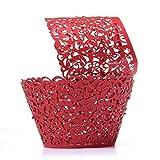JW-online 50pcs Laser-Schnitt-Kuchen-Verpackungs-Dekor Hochzeit Geburtstag-Partei-Dekoration-Babyparty-Wrap (Pink),rot