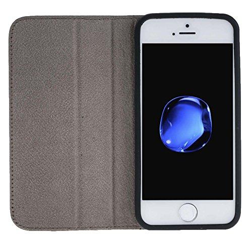 """Solo Pelle Iphone SE / 5 / 5S """"Wallet"""" Ledertasche mit Aufstellfunktion & Kartenfächern in Cognac Braun Floater-Taupe"""