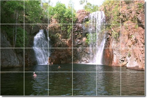 CASCADAS FOTO MURAL AZULEJOS MURAL 12  48X 182 88CM CON (24) 12X 12AZULEJOS DE CERAMICA