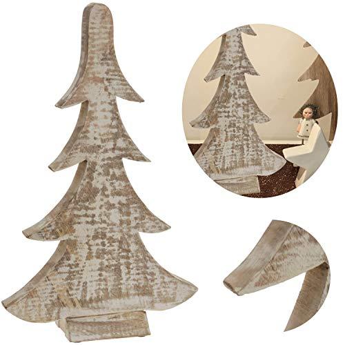 LS-LebenStil XL Holz Tannenbaum 28cm Sockel Braun Weiß Weihnachtsbaum Holz-Baum