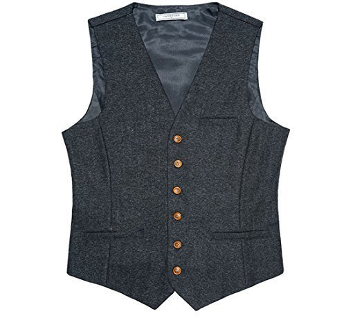DeLamode Beckham Same Style Weste Ärmelloses Anzug-Knopf-Frühlings-Behälter-Kleid Grey-L