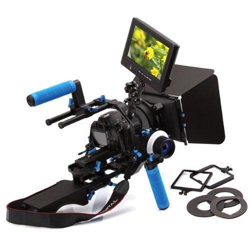 "Yimidear Universal-Profi DSLR Schulterpolster unterstützen Mount Rig + Handgriff + Halbrund Follow Focus Finder mit Getriebe Gürtel + Digital Matte Box M3 4x4 + Pro C-Form-Support Cage + Top Handle + Hohe Qualität HD 1080P 7 ""Portable-Monitor mit Mini-HDMI Input und Output AV YPbPr-Eingang für DSLR / DV Video Kamera wie Canon 550D 500D 60D 50D 40D 5D 5D2 5D3 1Ds, Nikon D700 D300 D90 D7000 D5000 D3100 D3000, Fuji, Olympus, Pentax SLR DSLR And So On"