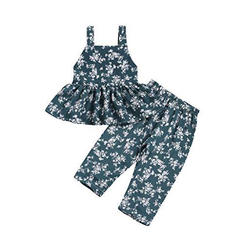 JUTOO Kleinkind Baby Mädchen ärmellose Blumendruck rückenfreie Weste Tops + Hosen Outfits Sets ()