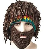 Bonnet en tricot avec barbe et perruque, fait main, chaud, pour l'hiver, le ski -...