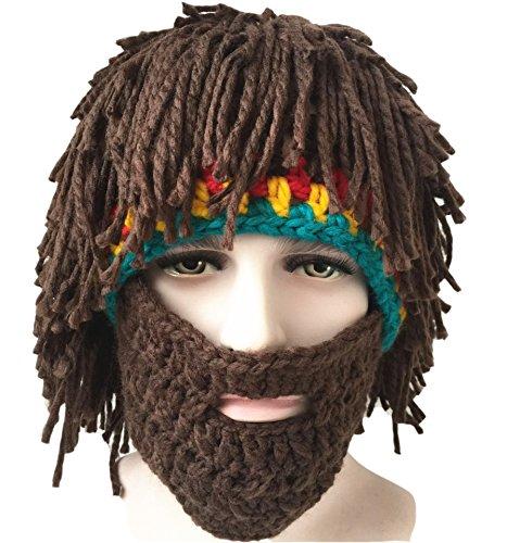 engerla Herren Knit Cap Bearded Hüte handgefertigt Perücke Winter Warm Ski Maske Beanie (Lustige Sport Kostüm Ideen)