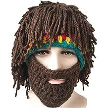 Engerla Hombres Knit Cap Sombreros Con Barba peluca hecha a mano invierno cálido Máscara de esquí Beanie