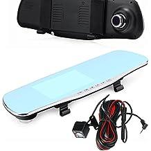 """Vovotrade 4.3 """"Full HD 1080P coche Espejos Retrovisores Vídeo Dash Cam, 170 grados de gran angular, Lentes delanteras y traseras, Cámara de inversión, Vigilancia Aparcamiento, Bloqueo de emergencia"""