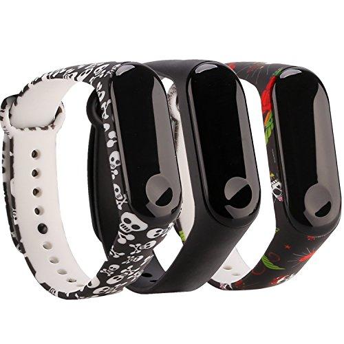Moretek Xiaomi Band 3 Pulsera, Correa de Reloj Inteligente, Gel De Silicona Banda Pulsera Correa para Xiaomi Mi Band 3 Accesorios De Recambio (Black/2Skull 3pcs)