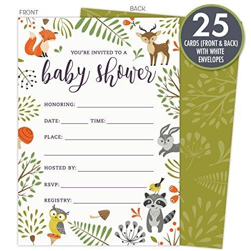 Koko Papier CO Woodland Baby Dusche Einladungen mit Eule und Wald Tiere. Set 25Stück Füllen Stil blanko Karten und Umschläge. Unisex-Design Geeignet für Jungen oder Mädchen.