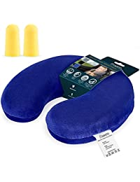 Savisto Memory Foam Travel Pillow with Washable Earplugs | Travel Cushion & Support for Plane, Car and Train, Reading & Neck Pain Relief