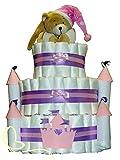 XXXL Windeltorte Prinzessinnenschloss mit Spieluhr Bär rosa - Geschenk zur Geburt und Taufe - Einzigartige Windeltorten von dubistda