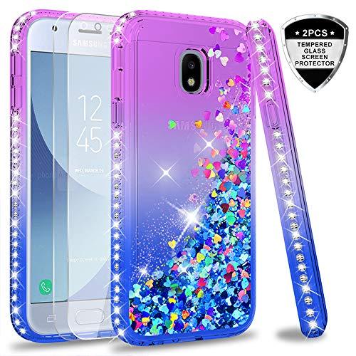 LeYi Hülle Galaxy J3 2017 Glitzer Handyhülle mit Panzerglas Schutzfolie(2 Stück),Cover Diamond Rhinestone Bumper Schutzhülle für Case Samsung Galaxy J3 2017 Handy Hüllen ZX Gradient Purple Blue
