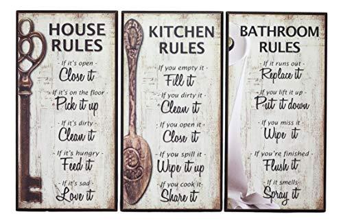 Ebros Wanddekoration aus Holz, rustikal, mit englischer Aufschrift Our Family Rules, 17,78 x 35,6 cm, Wanddekoration für Küchenhaus, Badezimmerwände, Vintage-Hängeschild, Erinnerungsschilder, 3er-Set