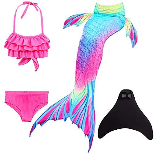ShePretty Mädchen Meerjungfrauenschwanz Bikini Set Zum Schwimmen mit Meerjungfrau Flosse Badeanzüge Prinzessin Cosplay Kostüm,DH52,140 (Kostüme Kinder Alle Für)