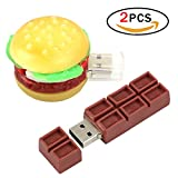 JER Hamburger Carina Unità Flash USB2.0 Flash Drive 4GB Alta Velocità Cioccolato Flash Drive Memoria Stick Thumb Drive Chiavetta USB, 2 Pack