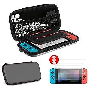 Nintendo Switch Hülle+Schutzfolie, EEEKit Supremery Case Reiseetui Tasche (Slim Version) mit Netztasche und Reißverschluss, 3 Stücke Displayschutzfolie Panzerglas mit