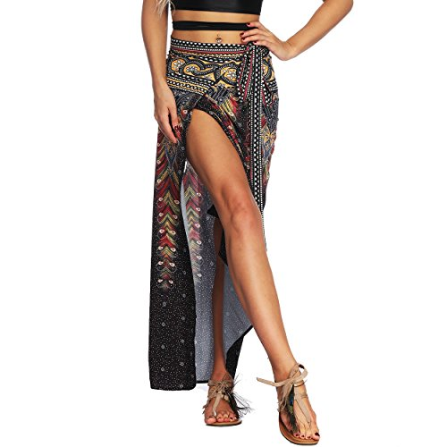 Nuofengkudu Mujer Falda Larga Hippie Gitana Amarra la Cintura Alta Boh