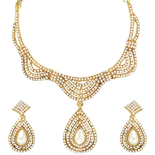 Ethnic Indian Bollywood Fashion Jewelry Set Pearl Gold Tone Necklace SetDINE0284WH  available at amazon for Rs.199