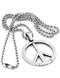 """PiercingJ - Bijoux Collier Pendentif Logo Symbole de Paix Peace Rond Charme Sterling Acier Inoxydable Couleur Argent Avec Chaine 19""""/48cm"""