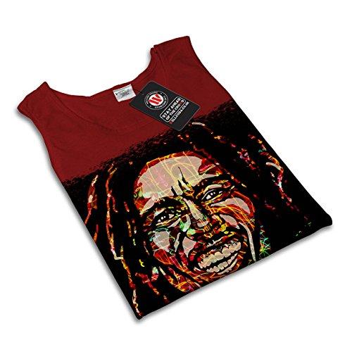 Bob Marley Berühmt Rasta Held Lächeln Damen S-2XL Muskelshirt   Wellcoda Rot