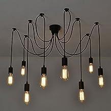 Itian Vintage da soffitto,E27, Lampadario moderno di colore nero, chic