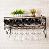Red wine rack hanging red wine glass frame hanging high cup holder upside down white brown wine display shelf wine cabinet hanging cup holder length 62.5 * high 33cm , brown
