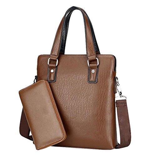 Borsa Da Uomo Borsa A Tracolla Messenger Bag Business Pack Tempo Libero Moda Brown4