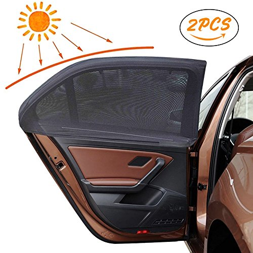 Parasol para coche, Korostro 2 Pack Visera para Ventana lateral de coche Resistencia a los rayos UV y la Reflexión de Luz de Sol Para Bebés, Niños y Mascotas