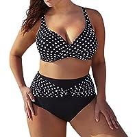 QinMM Bikini de Punto Trajes de baño para Mujer Talla Grande, Push up Playa de Verano Bañador