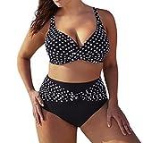 QinMM Bikini de Punto Trajes de baño para Mujer Talla Grande, Push up Playa de Verano Bañador (Negro, 2XL)