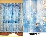 Set 2 x Frozen Blue Voile Net rings Curtain 75 cm width x 250 cm drop