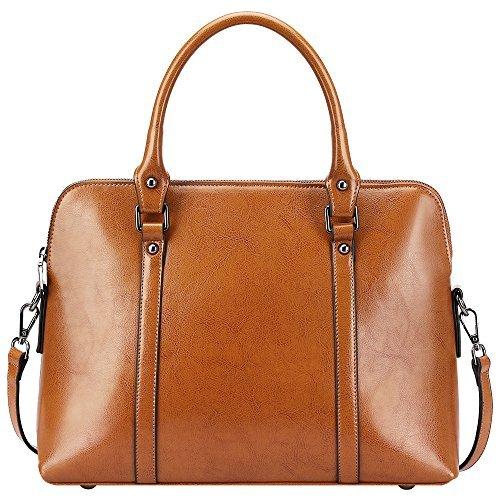 S-ZONE Frauen Echtes Leder Handtaschen Aktenkoffer Geldbörse Schultertaschen Taschenbeutel - Leder Chic Handtasche
