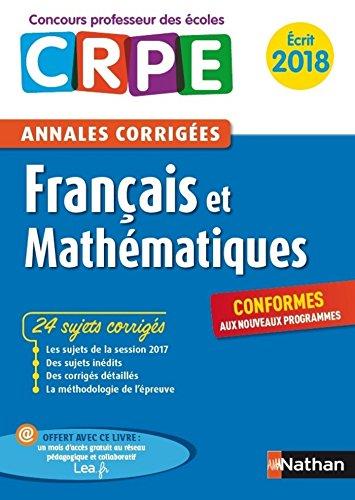Ebook - Annales CRPE 2018 : Français & Mathématiques