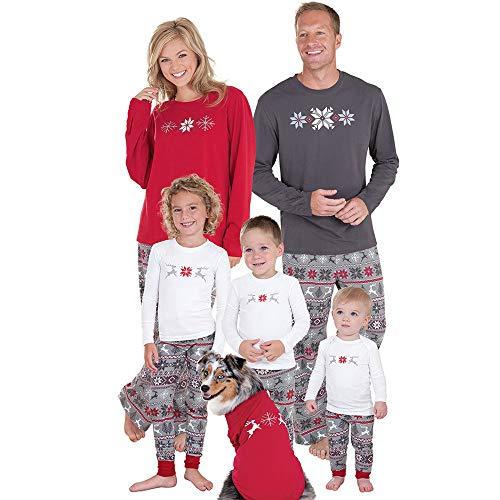 Gusspower Ropa Conjunto de Pijamas Familiares de Navidad para Familia Traje Mujer Hombre Niños Sudadera Manga Larga Impresión de Ciervo + Pantalones
