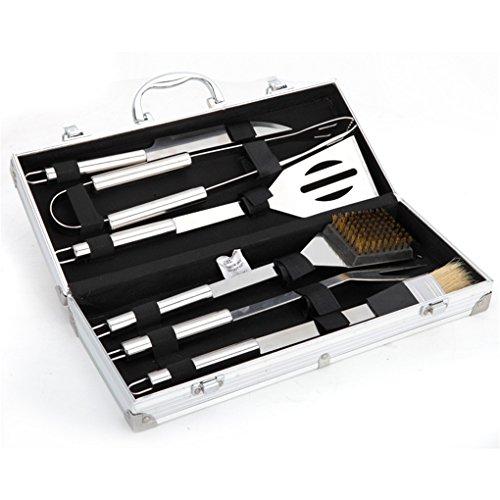 Holzsammlung® Cubertería de 6 piezas para barbacoa de acero inoxidable para barbacoa Cubiertos en maletín de aluminio