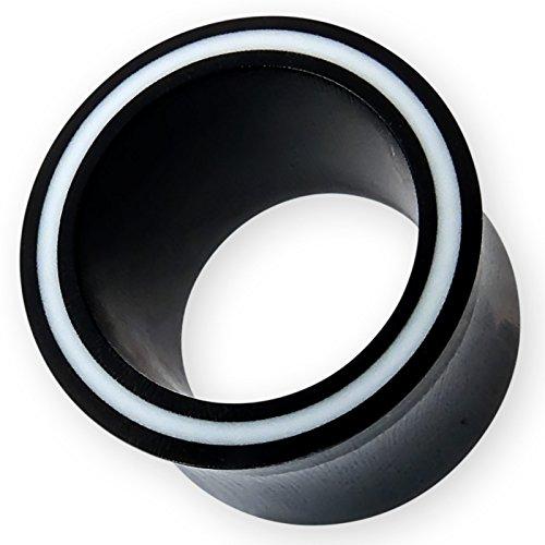 Fly Style Damen Herren Ohr-Plugs Flesh-Tunnel Horn Knochen (4-30mm) (Schwarz Weiß) pg030, Grösse:12 mm, Materialwahl:Horn