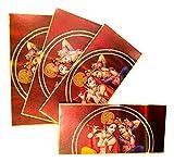 EL300 4er Pack bunte Radhe Krishna Shagun Bargeldumschläge Salami Geschenk Designer Einladungskarten Umschläge Geburtstag Eid Hochzeit Geschenk Karte Umschläge Holografisch