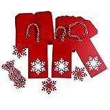 Geschenk Anhänger mit Juteschnur 10m Geschenkanhänger Kraftpapier Etiketten Tags Anhängeschilder Eintrittskarten (Rote Schneeflocke)