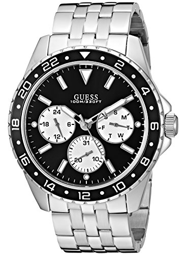 Guess Men's Stainless Steel Bracelet Watch, Color Silver-Tone/Black (Model: U1107G1)